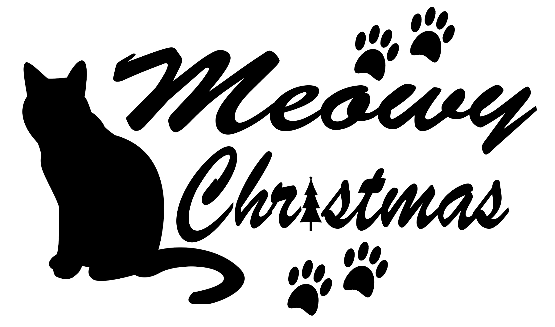 Free Cat Christmas SVG File