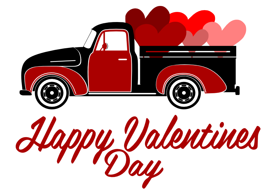 Free Happy Valentines Day Truck SVG Cutting File